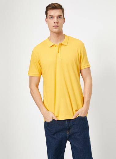 Koton Polo Yaka Kisa Kollu Slim Fit Basic T-Shirt Sarı